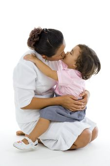 Free Daughter And Mother Kissing Stock Images - 14556624