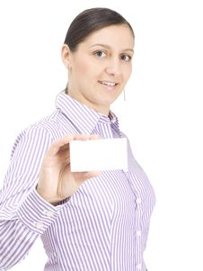 Free Businesswomen With Busines Card Stock Image - 14556991