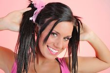 Free Beautiful Happy Woman With Funny Hairstyle Royalty Free Stock Photo - 14557645