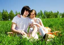 Free Beautiful Girl And Boy On Grass Stock Photo - 14557890