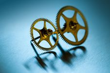 Free Two Gears On Cyan Stock Photos - 14558523