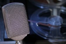 Microphone And Reel Tape Royalty Free Stock Photo