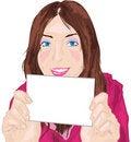 Free Woman Holding Card Stock Photos - 14561123