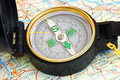 Free Compass On A Map Royalty Free Stock Images - 14562159