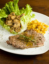 Free Steak With Mushrooms And Mais Stock Image - 14567401
