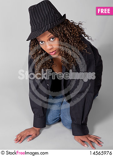 Free Beautiful Young Woman In Striped Hat And Shirt Royalty Free Stock Image - 14565976