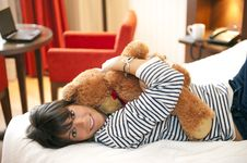 Free Woman With Teddy Bear Royalty Free Stock Image - 14560096