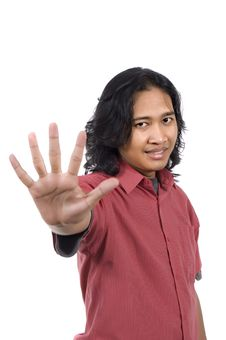 Long Hair Man Give Number Five By Hand Gesture Royalty Free Stock Photo