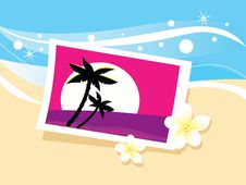 Vacation Photo In Sand. Vector Royalty Free Stock Image