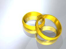 Free 3d Gold Wedding Ring Stock Images - 14561264