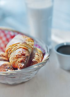 Croissants On A Wooden Basket Stock Photography