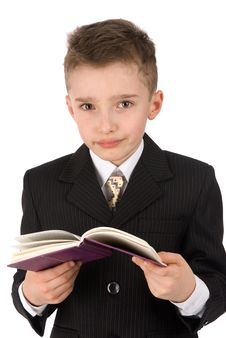 Free Adorable Boy With A Book Royalty Free Stock Image - 14561636