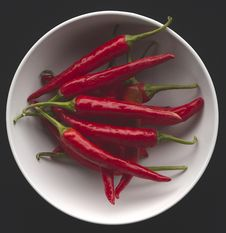 Red Chilis In Bowl Stock Photography
