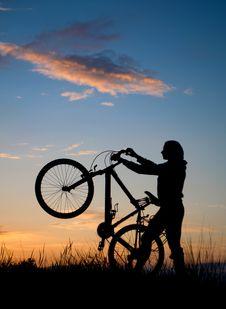 Free Biking Sunset Royalty Free Stock Photo - 14563485