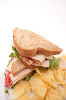 Free Turkey Sandwich With Potato Chips Royalty Free Stock Photos - 14564428