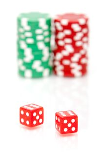 Free Colorful Poker Chips And Dices Stock Photos - 14564503
