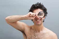 Free Curious Man With Magnifier Royalty Free Stock Image - 14564786