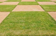 Square Pattern A Green Grass Royalty Free Stock Image