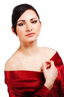 Free Sensuality Young Woman In Red Gown Stock Image - 14566321