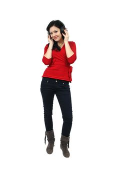 Music Girl And Headphones Royalty Free Stock Photo