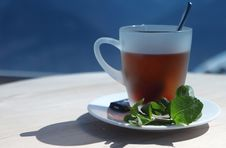 Free Cup Of Hot Tea In Alps Royalty Free Stock Photos - 14567158