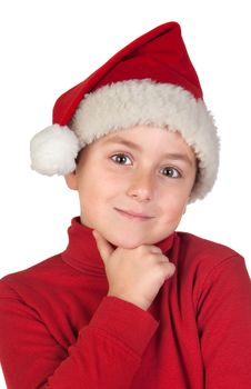 Free Adorable Boy With Santa Hat Thinking Stock Photography - 14567882