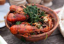 Bowl Of Boiled Crawfish Royalty Free Stock Image