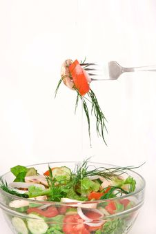 Free Salad In A Glass Bowl Stock Photo - 14569020