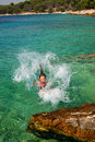 Free Jumping Into Adriatic Water Royalty Free Stock Photo - 14574615