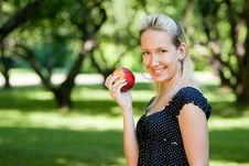 Free Girl With Apple Stock Photography - 14570192