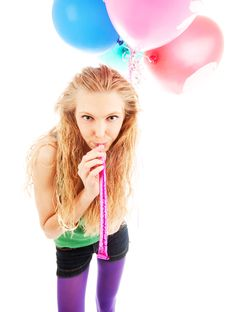 Free Girl With Balloons Stock Photography - 14570222