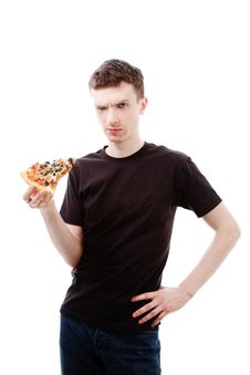 Gloomy Man With Pizza Stock Photo