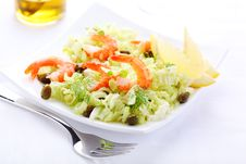 Salad With Shrimp And Cabbage Stock Image