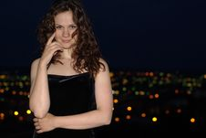 Free Girl And Night City Royalty Free Stock Photos - 14572008