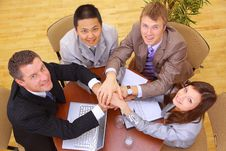 Businessteam And Hands Stock Photo