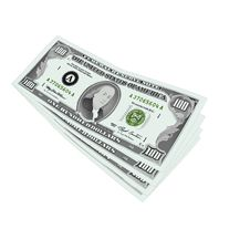 100 Dollars Notes Isolated Stock Photos