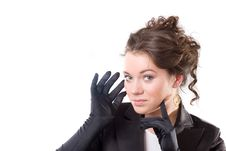 Free Brunet Woman In Black Gloves Royalty Free Stock Image - 14572176