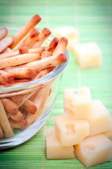 Breadsticks And Cheese Stock Photography