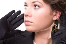 Free Brunet Woman In Black Gloves Stock Photos - 14572203