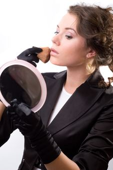 Free Brunet Woman In Black Gloves Royalty Free Stock Photo - 14572225