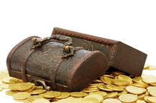 Free Wooden Casket Full Of Coins Royalty Free Stock Photo - 14572575