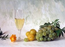 Free White Wine And Grapes Stock Image - 14573601