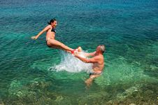 Free Jumping Into Adriatic Water Royalty Free Stock Photo - 14574655