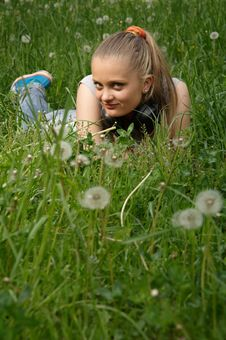 Free Girl On Meadow Royalty Free Stock Photos - 14575168
