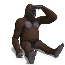 Free Gorilla Watching Something. 3D Rendering With Stock Photography - 14576192
