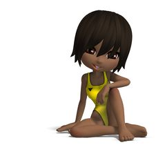 Free Beautiful Cartoon Girl In A Onepiece Swimsuit. 3D Stock Photos - 14576303