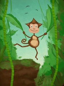 Monkey Trying To Fly Stock Image