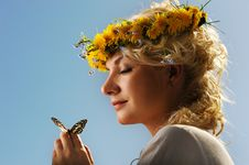 Free Woman With A Butterfly Stock Photo - 14576630