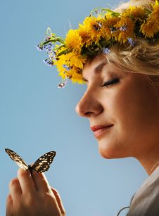 Free Woman With A Butterfly Stock Photos - 14576653