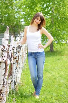 Beautiful Girl And Birch Stock Photography